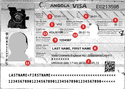 Muestra de Visa para Angola