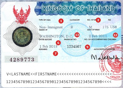 Thailand Visa Sample