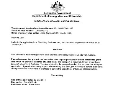 Australia Visa Sample