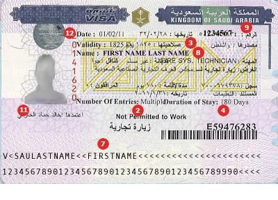 Muestra de Visa para Arabia Saudita