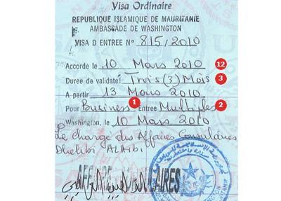 Muestra de Visa para Canadá