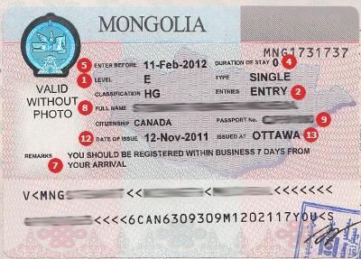 Muestra de Visa para Venezuela